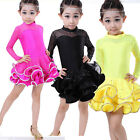 Sequined Children's Latin dance dress Girls Lace Red Black Dancwear Costumes