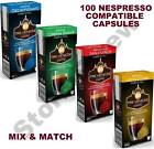 100 NESPRESSO COMPATIBLE COFFEE CAPSULES PODS. 50% SAVINGS vs. ORIGINALS