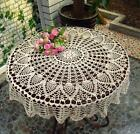 Beige Cotton 36'' Round Handmade Crochet Lace Tablecloth Doily Doilies(N06)