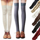 Women Knit Cotton Over The Knee Long Sock Striped Thigh High Stocking Pantyhose