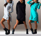 Fashion Womens Ladies Long Sleeve Irregular Hoody Sweatshirt Hooded Split Dress