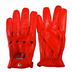 NEW WOMENS LEATHER DRIVING GLOVES GENUINE LEATHER LONG FASHION GLOVES RED