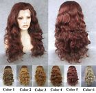"24""Front lace long wavy curly dark red brown blonde synthetic wig for women"