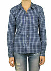 STEVEN ALAN Navy & White Plaid Reverse Seam Long Sleeve Top WST03CT NWT $158