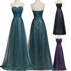 Sequins A-Line Long Prom Dress Bridesmaid Formal WEDDING Evening Party Plus size