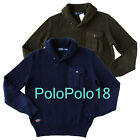 New $125 Polo Ralph Lauren Shawl Knit Sweater Olive Navy S M L XL 2XL
