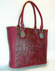 New Trinity Ranch Concealed Carry, Tooled Leather Shoulder Tote- Red