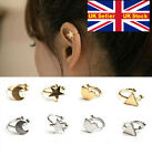 new Star moon heart triangle ear cuff clip piercing free silver or gold gift UK