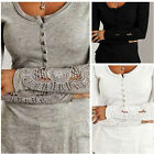 Fashion Womens Long Lace Sleeve Button Shirt Casual Blouse Solid Tops T Shirt