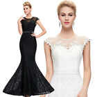 ST Mermaid COCKTAIL Long Lace Evening Ball Gown Party Prom WEDDING Dress UK 4-18