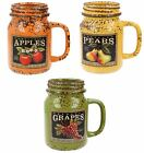 LESSER AND PAVEY FRUIT HARVEST MASON JAR WITH HANDLE (3 COLOURS) ITEM: LP27622
