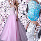 Beaded Bridemaid Formal Prom Party Gown Long Evening Dresses STOCK UK SIZE 6-16+