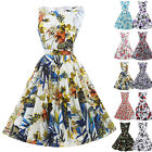❤RETRO FLORAL❤ 1950's Womens Vintage Cotton Party PROM Ball Gown GARDEN Dresses