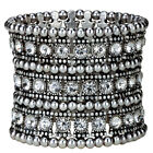 Stretch cuff bracelet bridal wedding party bling jewelry gifts for her A1 3 row