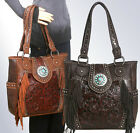 New Trinity Ranch® Concealed Carry, Tooled Leather & Fringe Tote-5 Color Choices