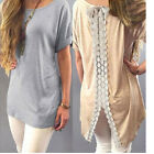 Women Fashion Vest Short Sleeve Blouse Casual Tank Tops T-Shirt Lace Pullover EW