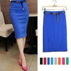 Fashion Business Work Office High Waist Cotton Long Midi Calf Pencil Skirt Belt