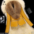 100% Real Raccoon Fur Collar Lamb Leather Jacket Coat Outwear Winter X'cam Gift