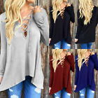 Hot Sexy Womens Lace-up Long Sleeve Tops Casual TEE Plunge Blouse Hoodie Shirts