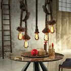Retro Industrial Vintage Pendant Hanging 1/2 Ceiling Lights Hemp Rope Lamp Decor