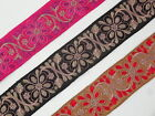 "1yd Floral Embroidered Trim 2.10"" wide ( Woven Border Sew Jacquard Ribbon ) T303"