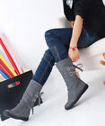 New Womens Synthetic Leather Flat Heel Mid Calf Boots Shoes UK Size Vogue