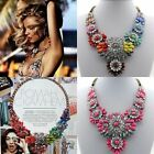 Hot Women Shourouk Rainbow Flower Necklace Bib Statement Necklace Chunky Collar