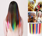 Colorful WOMEN clip In Hair piece Synthetic Straight Hair Extensions Highlight