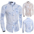 3D Printed Mens Button Front Long Sleeve Slim Fit Casual Dress Business Shirts