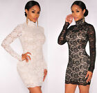 22470-Black / White High Neck Lined Lace Overlay Long Sleeve Bodycon Mini Dress