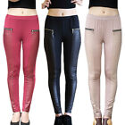 Women Slim Stretchy Stretch Zipper Long Leggings Skinny Pencil Pants With Design