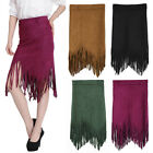 Women Faux Suede Tassel Fringe High Waist Irregular Asymmetric Hem Midi Skirt