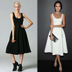 Women Ladies Sleeveless A-Line One-piece Ball Gown Evening Party Mid Dress Hot