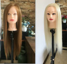 """22"""" 50% Real Human Hair Hairdressing Training Head Practice Mannequin  Clamp Cut"""