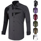 VOGUE FOR DESIGNER Mens Custom Fit Long Sleeve Mens Polo Shirt Dress Shirts S-XL