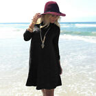 Womens Summer Turtleneck Loose Tunic Long Sleeve Shirt Casual Party Shirt Dress