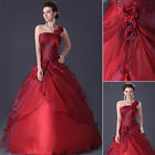 RED Masquerade Party Ball Gown FORMAL Prom Bridesmaid Evening Dress SIZE 6-16 UK