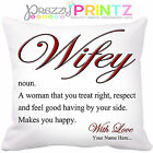 PERSONALISED NOUN WIFEY WIFE MRS CUSHION VALENTINES ANNIVERSARY CHRISTMAS GIFT