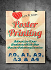 Satin / Gloss Colour Posters printing A0 A1 A2 A3. Printed Poster Service. Print