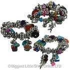 NEW Ladies Girls Chunky Colourful Charm BRACELET Stretchy Round Silver Bright