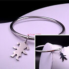 More Size Shiny Solid Cuff Bangle Cute Boy Girl bracelet Stainless steel Jewelry