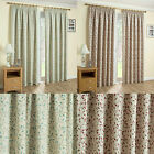 Contemporary Floral Thermal Block Out Tape Top Curtains In Duckegg & Red