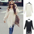 New Fashion Women long section Bat sleeve Shoulder tassel Lap Loose Coat Sweater