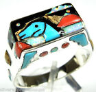 Hand Made Kingman Turquoise Horse Inlay 925 Sterling Silver Men's, Woman's Ring