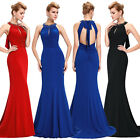 Crystal Cotton Long Evening Bridesmaid Formal Party Prom Dresses Gowns Size 4-18