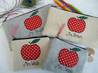 Personalised Teacher Purse or Pencil Case, Apple design Choice of Fabric Wording