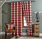Kindle Red Tartan Check Striped Ring Top Eyelet Ready Made Pair Of New Curtains
