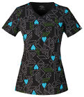 Love You Dots! Cherokee Infinity with Certainty Mock Wrap Scrub Top 2628A LODS