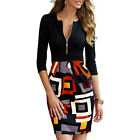 Women Sexy V Neck Zipper Front Dress Bodycon Long Sleeve Bandage Party Dress
