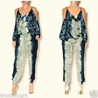 ELAN BOHO TIE DYE HAREM JOGGER PANTS NAVY BLUE GREEN BEACH SUMMER S M L  $69